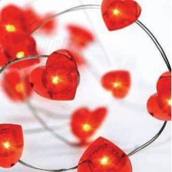Led Διακοσμητικά Λαμπάκια Μπαταρίας Καρδιά Πλαστική 20 Mini Leds Κόκκινο IP20 σε Ασημί Καλώδιο Χαλκού 200+10cm X01204115 - Aca