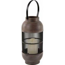 Led Φανάρι Μπαταρίας Nougat Πλαστικό Καφέ με Κερί Θερμό Λευκό IP44 14x14x33cm F0711110 - Aca