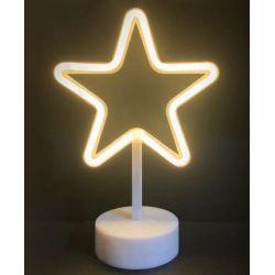 Led Neon Αστέρι Πλαστικό 39 Leds 2835 Θερμό Λευκό IP20 με Μπαταρίες & Βύσμα USB 19x10x28.5cm X04001310 - Aca