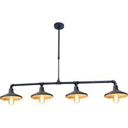 Φωτιστικό Οροφής Κρεμαστό Τετράφωτο Pipe Μεταλλικό Μαύρο & Ορείχαλκο 4xE27 130x92cm AR4174P130BG - Aca