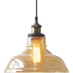 Φωτιστικό Οροφής Κρεμαστό Smyrna Γυαλί Κεχριμπάρι E27 Φ28cm KS1295PAM1BK - Aca