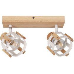 Φωτιστικό Σποτ Οροφής - Τοίχου Δίφωτο Talos Ξύλο & Μέταλλο Λευκό 2xE14 32x13.8cm GN46S2WW - Aca