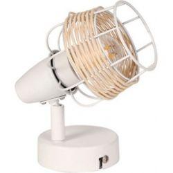 Φωτιστικό Σποτ Τοίχου - Οροφής Zorbas Μέταλλο Λευκό & Rattan E14 Φ9x13x12cm GN19S1WH - Aca