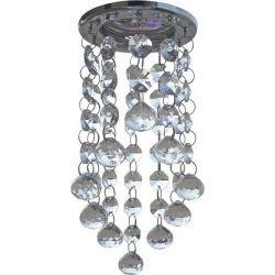 Φωτιστικό Σποτ Οροφής Moria Κρύσταλλα Διάφανα & Μέταλλο Νίκελ/Χρώμιο MR16 Φ8.1x21.5cm S7226 - Aca