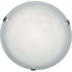 Φωτιστικό Πλαφονιέρα Οροφής Τοίχου Δίφωτο Albatre Μέταλλο Χρώμιο & Γυαλί Λευκό 2xE27 Φ30x8.5cm XD01300W - Aca
