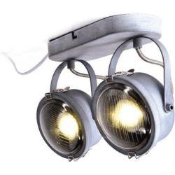 Φωτιστικό Σποτ Οροφής Τοίχου Δίφωτο Morfeas Μέταλλο Γκρι & Γυαλί Διάφανο 2xGU10 26x19.2cm AR1722W31G - Aca