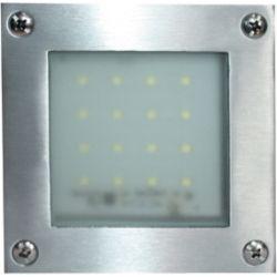 Απλίκα Led Επίτοιχη Στεγανή Inox 1.6W 120lm 3000K Θερμό Λευκό 10.3x10.3cm HI019AWW - Aca