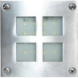 Απλίκα Led Επίτοιχη Στεγανή Inox 1.6W 130lm 6000K Ψυχρό Λευκό 10.3x10.3cm HI019CW - Aca