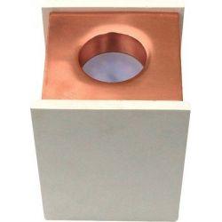 Φωτιστικό Spot Οροφής Επιφανειακό GU10 Γύψινο Τετράγωνο Λευκό - Ροζ Χαλκός 10x10x13cm 3115 - V-TAC