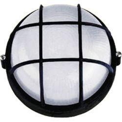 Φωτιστικό Απλίκα Τύπου Χελώνα E27 Αλουμίνιο ΜαύροIP45 Φ19cm HI5011B - Aca