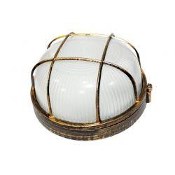 Φωτιστικό Απλίκα Τύπου Χελώνα E27 Αλουμίνιο Χρυσό Μαύρο IP45 Φ19cm HI5011GB - Aca