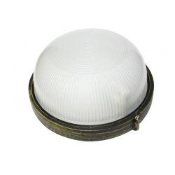 Φωτιστικό Απλίκα Τύπου Χελώνα Στρογγυλή E27 Αλουμίνιο Χρυσό Μαύρο IP45 Φ19cm HI5012GB - Aca