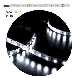 Led ταινία εύκαμπτη αυτοκόλλητη 12vdc 14.4 watt/m 60 led5050/m μή στεγανή ip20 ψυχρό λευκό λευκό