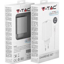 Φορτιστής Ταξιδίου Λευκός με Προσαρμογή Καλωδίου Type-C USB 8647 - V-TAC