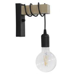 Φωτιστικό Επίτοιχο Απλίκα E27 Square Black Ε/27ΑΡ Ξύλο Φυσικό & Πλαστικό Μαύρο 31-1224 - Heronia