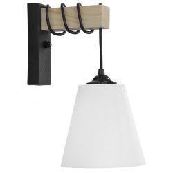 Φωτιστικό Επίτοιχο Απλίκα E27 Square Black White FUN-01ΑΡ Ξύλο Φυσικό & Πλαστικό Μαύρο & Λευκό 31-1225 - Heronia