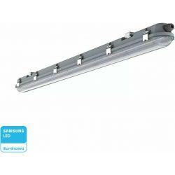Led Φωτιστικό Οροφής Αδιάβροχο Samsung SMD 48W 5760lm Ψυχρό Λευκό 6400K IP65 150cm με Ανοξείδωτα Κλιπς 20212 - V-TAC
