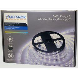 Ταινία Led SMD5050 12V 7.2W/m Ψυχρό Λευκό 6400K 600lm/m IP20 5m Σετ με Τροφοδοτικό & Dimmer White Big Box MTN-4002 - Metanor