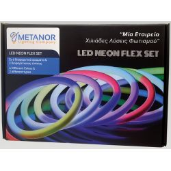 Led Neon Flex 24V 12W/m Θερμό Λευκό 2300K - 2600K 280lm/m IP67 5m Σετ με Τροφοδοτικό & Στηρίγματα Neon Flex Box MTN-3028 - Metanor