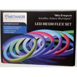 Led Neon Flex 24V 12W/m Φυσικό Λευκό 3400K - 3700K 280lm/m IP67 2.5m Σετ με Τροφοδοτικό & Στηρίγματα Neon Flex Box MTN-3035 - Metanor