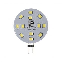 Λάμπα led g4 με 12led smd5050 12v ac/dc 2watt δέσμης 120° 190lumen ψυχρό λευκό 6400Κ