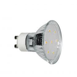 Λάμπα γυάλινη gu10 με 15led smd5050 3watt 230v δέσμης 105° 250lumen ψυχρό λευκό 6000Κ