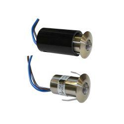 Φωτιστικό σπότ-ψείρα σατινέ με 1 led 0.6watt 12v στεγανό ip54 θερμό λευκό φώς δέσμης 40°
