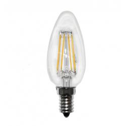 Διακοσμητική λάμπα led filament τύπου κεράκι Ε14 4watt 230v 380lumen θερμό λευκό 2700Κ