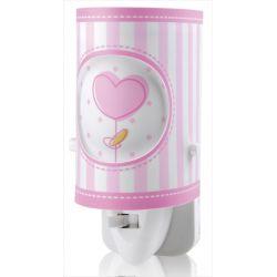 Παιδικό φωτιστικό νυκτός πρίζας Sweet Light ρόζ καρδιά με led 0.5 watt & διακόπτη on/off