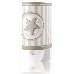 Παιδικό φωτιστικό νυκτός πρίζας Sweet Light γκρί αστερι με led 0.5 watt & διακόπτη on/off