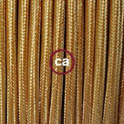 Υφασμάτινο καλώδιο gold (χρυσό) 2χ0,75 στρογγυλό