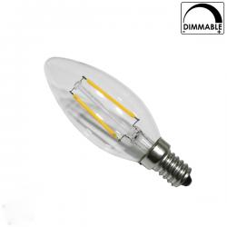 Διακοσμητική λάμπα led filament c35 κεράκι E14 4watt 230v θερμό λευκό 2700Κ 440lumen Ντιμαριζόμενη