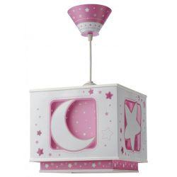 Φωτιστικό οροφής pink girl με κίτ ανάρτησης & διακοσμημένη ροζέτα
