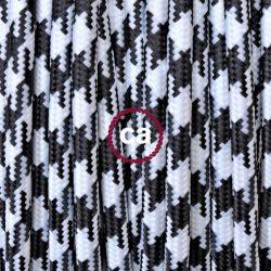Υφασμάτινο καλώδιο λευκό-μαύρο 2 Χ 0.75 στρογγυλό