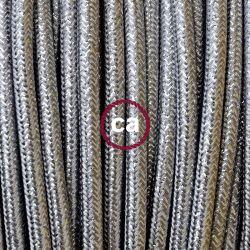 Υφασμάτινο καλώδιο λαμέ ασημί χρυσόσκονη 2 Χ 0.75 στρογγυλό