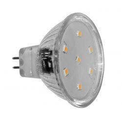 Λάμπα led γυάλινη mr16 2.5-3watt 12v ac/dc με 15smd 5050 δέσμης 100°250lumen θερμό λευκό