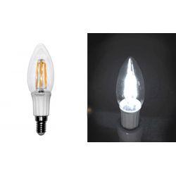 Διακοσμητική λάμπα led cog κεράκι διάφανο E14 4watt 230v ψυχρό λευκό 6000Κ 400lumen Ντιμαριζόμενη δέσμης 360°