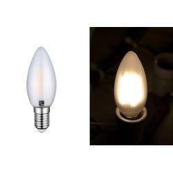 Διακοσμητική λάμπα led cog κεράκι Ε14 4watt 230v c35 με μάτ γυαλί & epistar led δέσμης 360° Θερμό Φως 2800k 410lumen