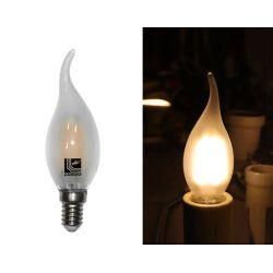 Διακοσμητική λάμπα led cog κεράκι Ε14 4watt 230v c35 με μάτ γυαλί & epistar led δέσμης 360° θερμό Φως 2800k 410lumen με μύτη