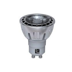 Λάμπα led cob gu10 ασημί 7watt 230v με 1 led cob δέσμης 36° 530 lumen ψυχρό λευκό 6200Κ
