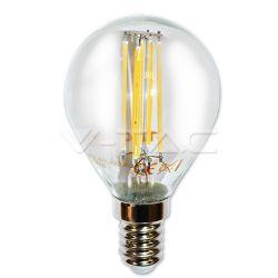 Διακοσμητική λάμπα led filament σφαιρική διάφανη Ε14 4watt 220-240v  δέσμης 300° θερμό λευκό 2700Κ 400lumen