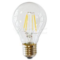 Λάμπα led v-tac Ε27 A60 διάφανη 4watt 100-240v 450lumen δέσμης 300° retro look θερμό λευκό 2700Κ