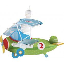 Παιδικό φωτιστικό οροφής babyplane σε σχήμα αεροπλάνου & κίτ ανάρτησης σε πράσινο χρώμα
